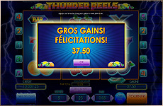 Gros gain (Big Win) sur Thunder Reels