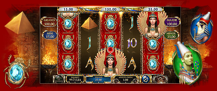 Machine à sous vidéo Red Rake Gaming Mother of Horus, bonus casino thème Egypte
